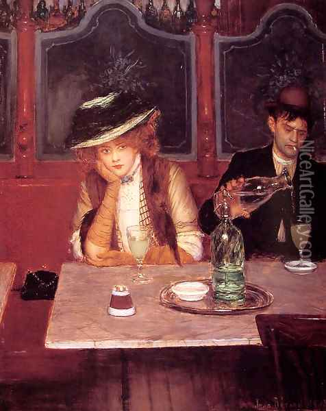 The Drinkers Oil Painting - Jean-Georges Beraud