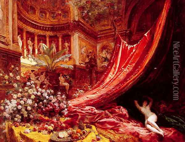 Symphony in Red and Gold Oil Painting - Jean-Georges Beraud