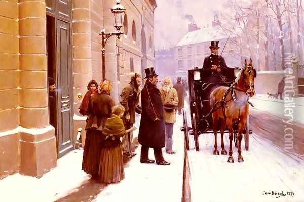 La Sortie Du Bourgeois (The Departure of the Bourgeois) Oil Painting - Jean-Georges Beraud