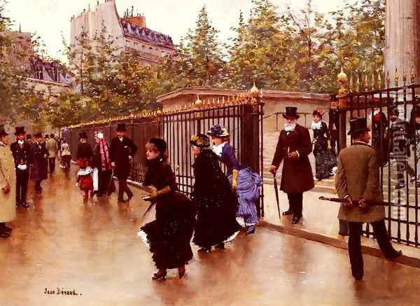 Sortant De La Madeleine, Paris (Leaving La Madeleine, Paris) Oil Painting - Jean-Georges Beraud