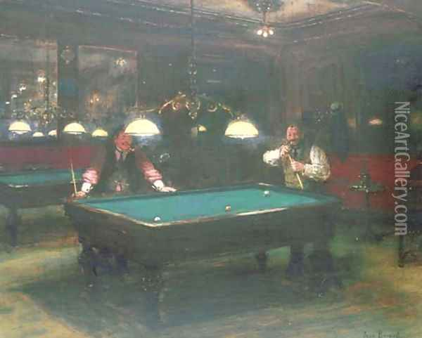 Les joueurs de billiard Oil Painting - Jean-Georges Beraud