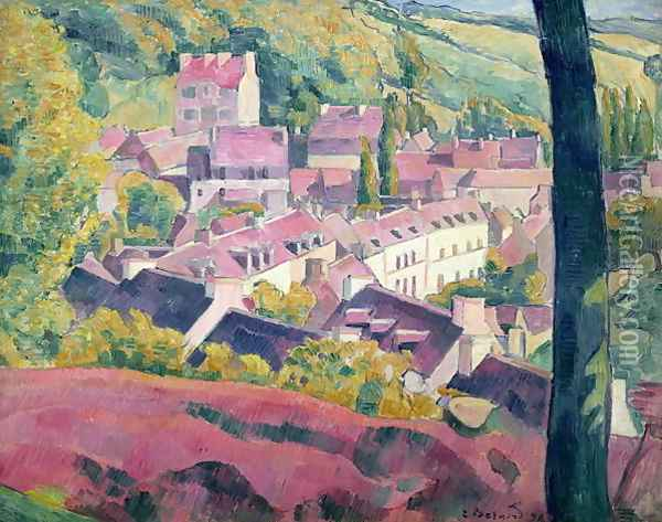 Pont Aven Seen from the Bois d'Amour, 1892 Oil Painting - Emile Bernard