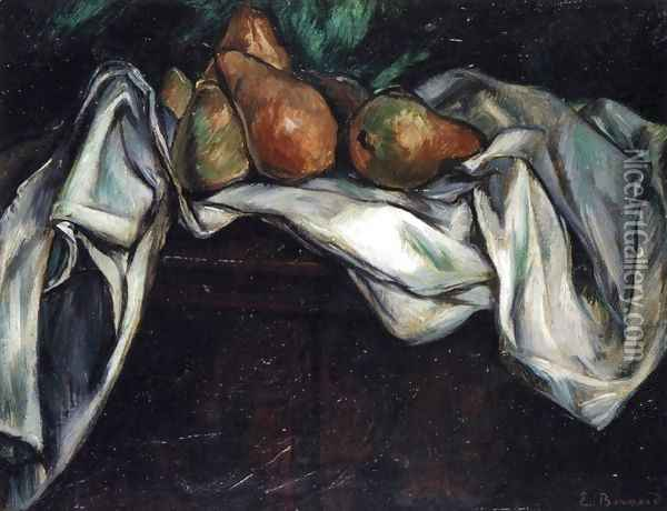 Still Life with Pears on a White Tablecloth Oil Painting - Emile Bernard