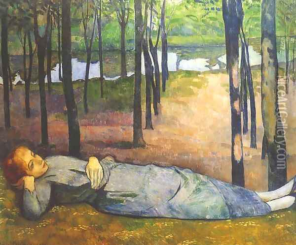 Madeleine in the Bois d'Amour Oil Painting - Emile Bernard