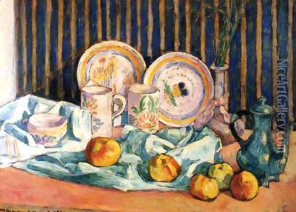 Still Life with Teapot, Apples and Dishes Oil Painting - Emile Bernard