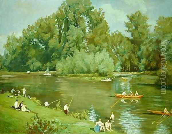 On the Shore of the Marne, c.1932 Oil Painting - Emile Bernard