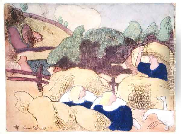 Women Making Haystacks, from the series 'Les Brettoneries', 1889 Oil Painting - Emile Bernard