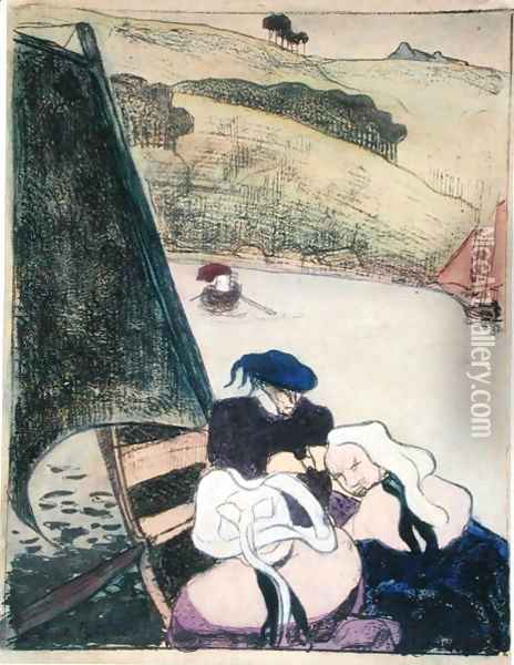 Bretons in a Boat, from the series 'Les Brettoneries', 1889 Oil Painting - Emile Bernard