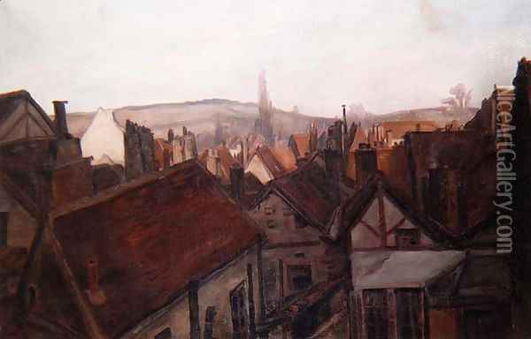The Rooftops of Tonnerre, 1904 Oil Painting - Emile Bernard