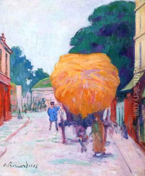 The Entrance to Asnieres, the Haywagon Oil Painting - Emile Bernard