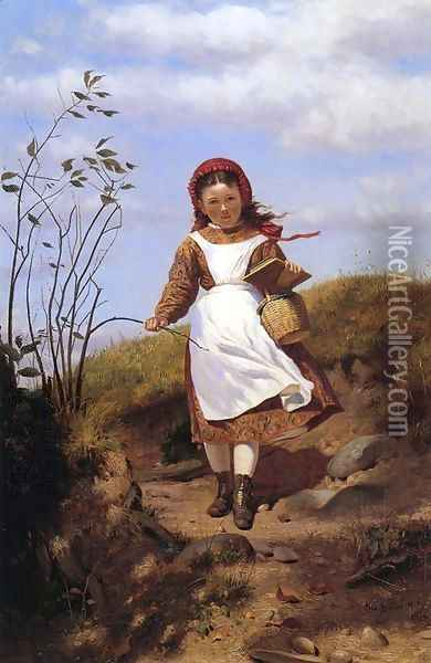 A Breezy Morning Oil Painting - John George Brown
