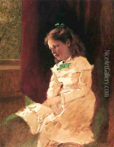 A Young Girl by the Window Oil Painting - John George Brown