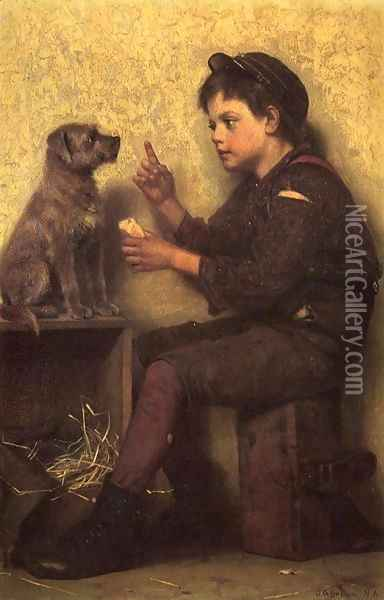 The Lesson Oil Painting - John George Brown
