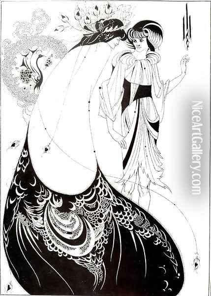 The Peacock Skirt, illustration for the English edition of `Salome' by Oscar Wilde (1854-1900) 1893 Oil Painting - Aubrey Vincent Beardsley