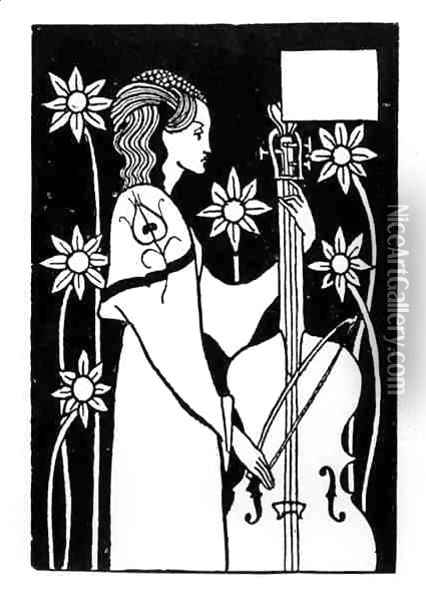 Lady with Cello, from 'Le Morte d'Arthur' Oil Painting - Aubrey Vincent Beardsley