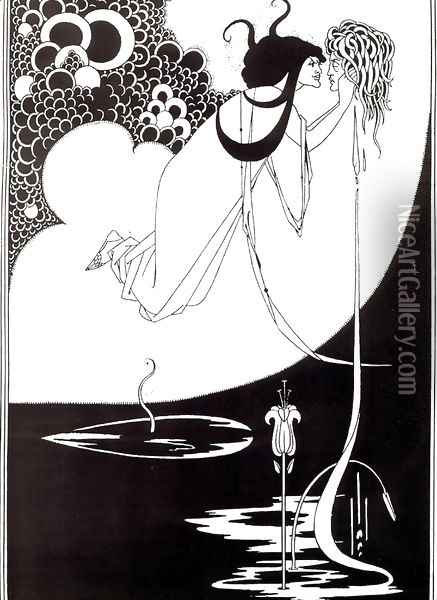 The Climax, illustration from 'Salome' by Oscar Wilde, 1893 Oil Painting - Aubrey Vincent Beardsley