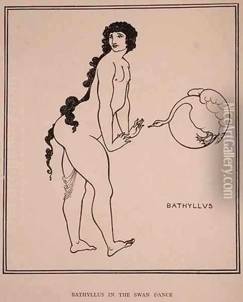 Bathyllus in the Swan Dance, illustration from 'The Sixth Satire of Juvenal', 1896 Oil Painting - Aubrey Vincent Beardsley