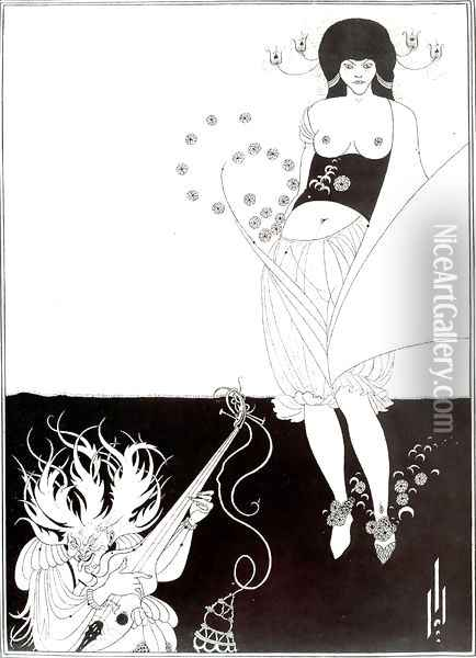 The Stomach Dance, from 'Salome' by Oscar Wilde (1854-1900) 1893 Oil Painting - Aubrey Vincent Beardsley