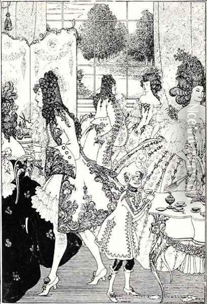 Illustration for 'The Rape of the Lock' Oil Painting - Aubrey Vincent Beardsley