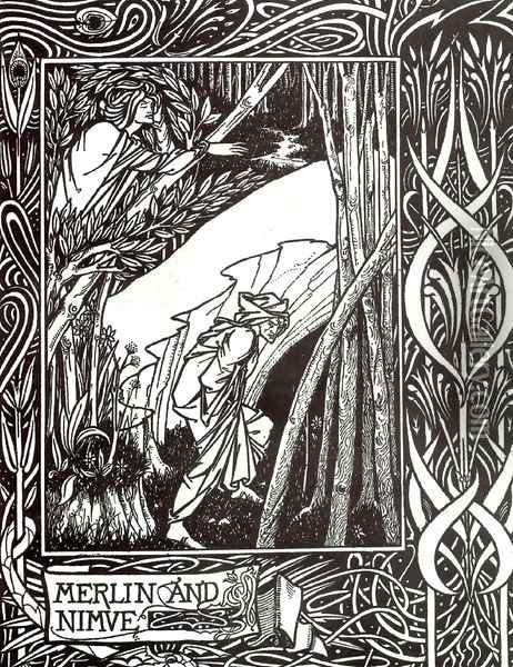 Merlin and Nimue Oil Painting - Aubrey Vincent Beardsley