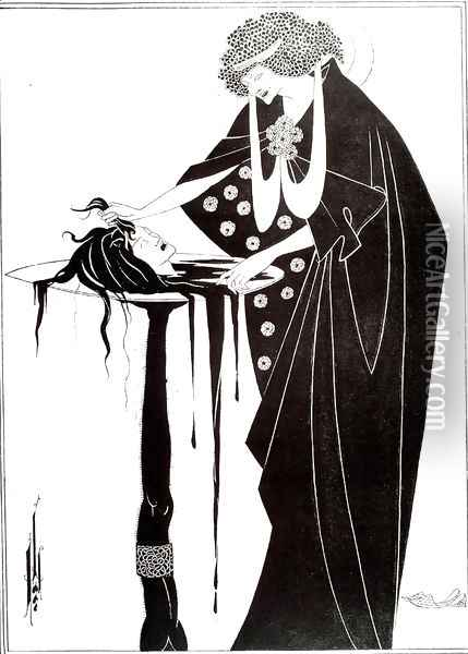 The Dancer's Reward, illustration from 'Salome' by Oscar Wilde, pub. 1894 Oil Painting - Aubrey Vincent Beardsley