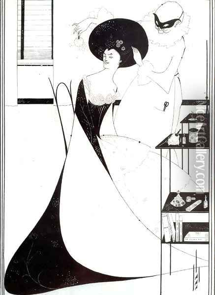 The Toilet of Salome, illustration for the English edition of Oscar Wilde's play 'Salome', 1894 Oil Painting - Aubrey Vincent Beardsley