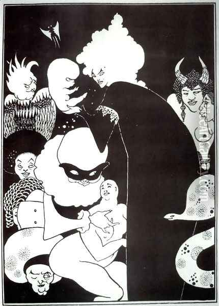 Lucian's Strange Creatures, illustration from 'Lucian's True History', c.1894 Oil Painting - Aubrey Vincent Beardsley