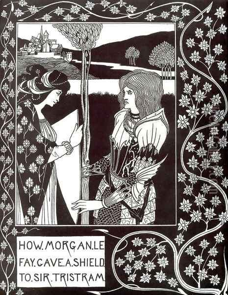 How Morgan Le Fay Gave a Shield to Sir Tristram Oil Painting - Aubrey Vincent Beardsley