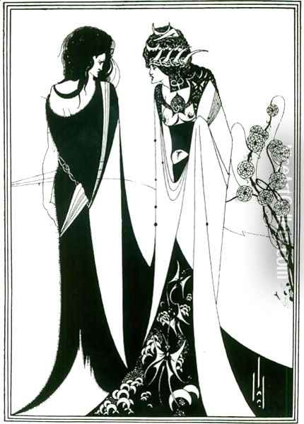 Salome with her mother, Herodias, 1894 Oil Painting - Aubrey Vincent Beardsley