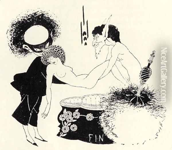 Tail-piece from 'Salome' by Oscar Wilde (1854-1900) Oil Painting - Aubrey Vincent Beardsley