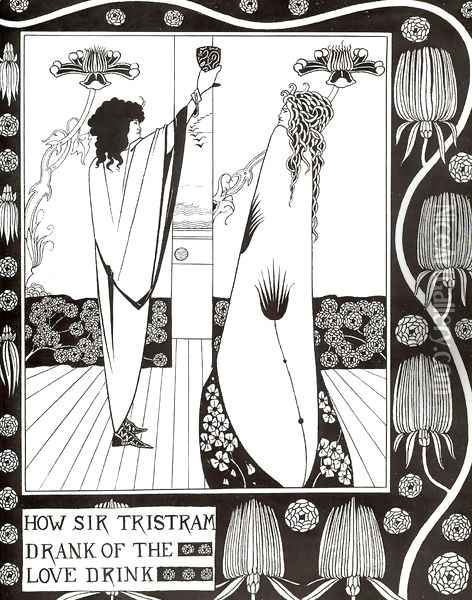 How Sir Tristram Drank of the Love Drink Oil Painting - Aubrey Vincent Beardsley