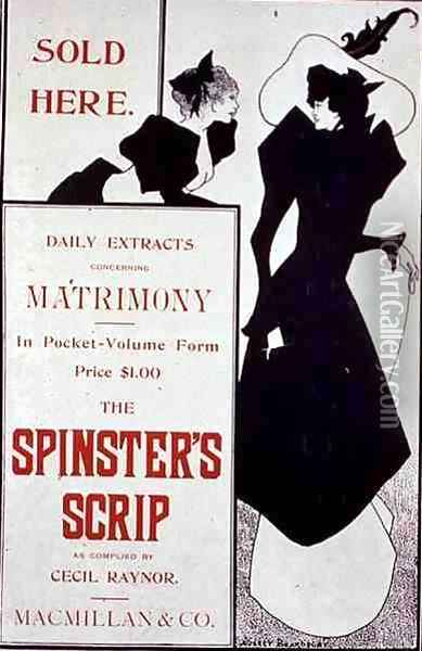 Poster advertising 'The Spinster's Scrip' Oil Painting - Aubrey Vincent Beardsley