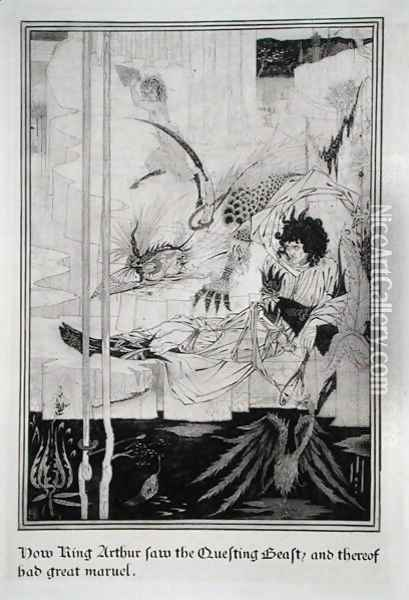 Now King Arthur saw the Questing Beast and thereof had great marvel, from 'Le Morte d'Arthur Oil Painting - Aubrey Vincent Beardsley