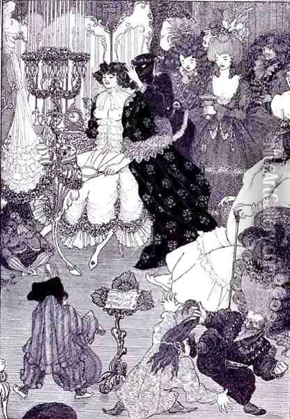 Illustration, probably from The Battle of the Beaux and the Belles c.1896 Oil Painting - Aubrey Vincent Beardsley
