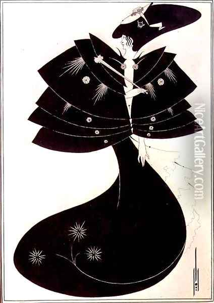 The Black Cape, illustration for the English edition of Oscar Wilde's play 'Salome', 1894 Oil Painting - Aubrey Vincent Beardsley