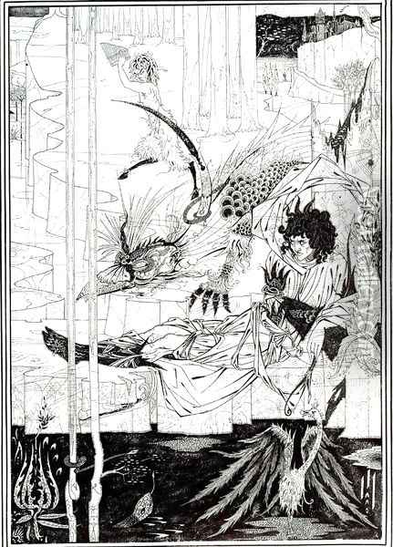 How King Arthur Saw the Questing Beast Oil Painting - Aubrey Vincent Beardsley
