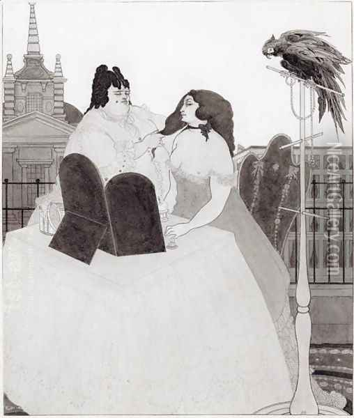 The Lady at the Dressing Table Oil Painting - Aubrey Vincent Beardsley