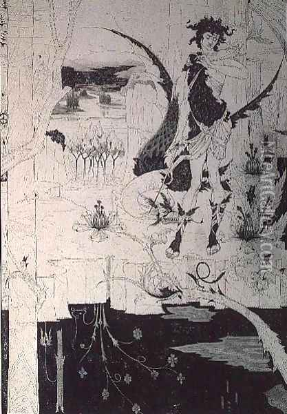 Siegfried, from Act II of 'The Ring of the Nibelung' Oil Painting - Aubrey Vincent Beardsley