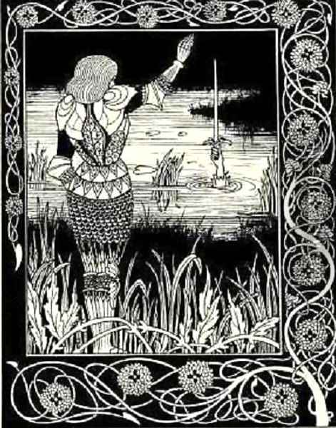 How Sir Bedivere Cast the Sword Excalibur into the Water Oil Painting - Aubrey Vincent Beardsley