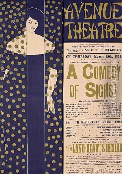 Poster advertising 'A Comedy of Sighs', a play, 1894 Oil Painting - Aubrey Vincent Beardsley
