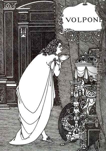 Volpone Adoring his Treasures Oil Painting - Aubrey Vincent Beardsley