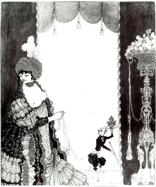 The Lady with the Monkey Oil Painting - Aubrey Vincent Beardsley