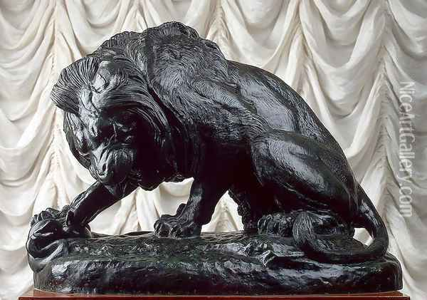 Lion and Serpent Oil Painting - Antoine-louis Barye