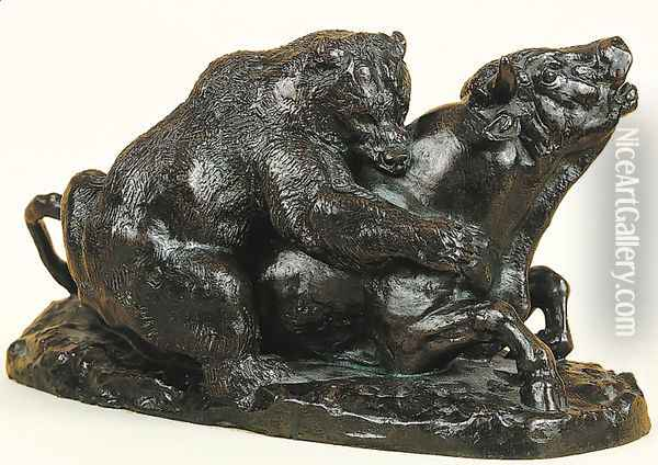 Bull Attacked by a Bear Oil Painting - Antoine-louis Barye
