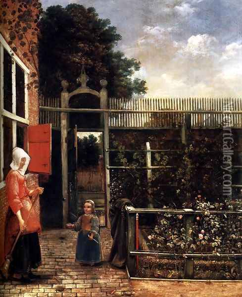 Woman with a Child Blowing Bubbles in a Garden Oil Painting - Hendrick Van Der Burch