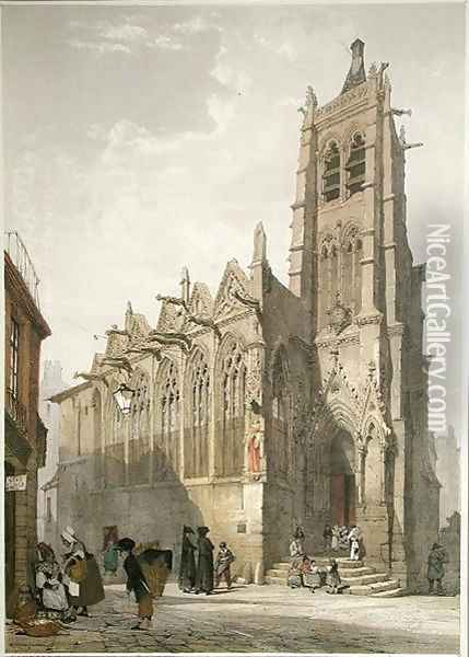 Exterior of the Church of St. Severin, Paris Oil Painting - Thomas Shotter Boys