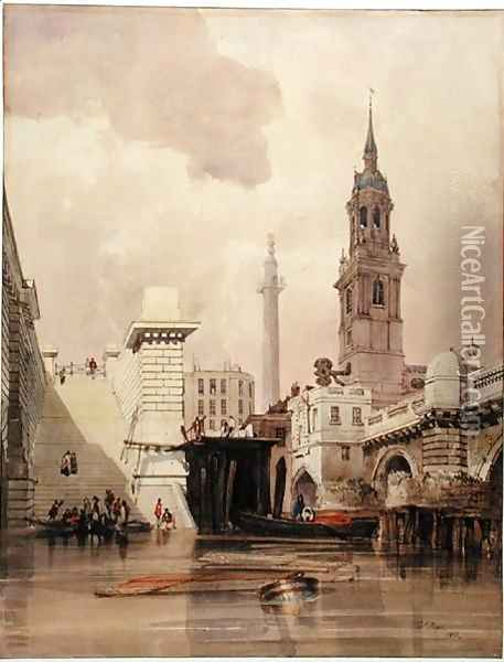 The Church of St. Magnus the Martyr by London Bridge, with Monument in the Background Oil Painting - Thomas Shotter Boys