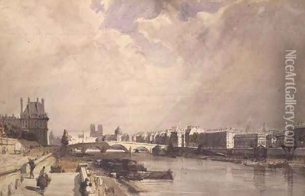 View along the Seine with the Pont Royal and the Pavilion de Flore, Tuileries Oil Painting - Thomas Shotter Boys