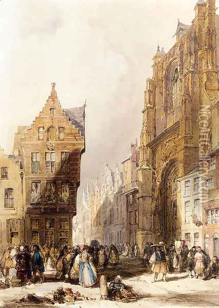Figures On A Street In A Market Town, Belgium Oil Painting - Thomas Shotter Boys
