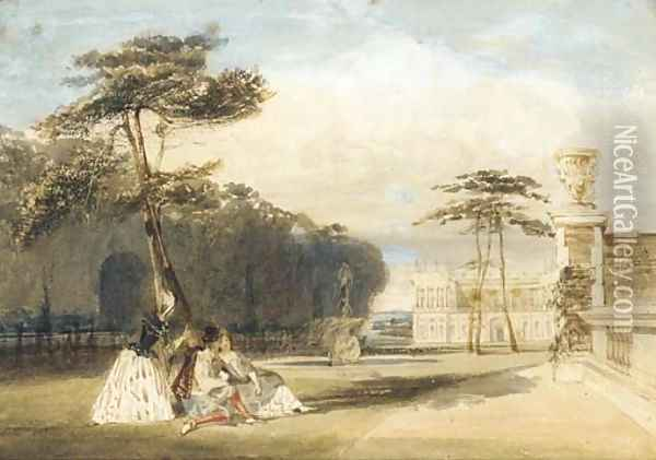 Figures in Van Dyke costume in the grounds of a chateau Oil Painting - Thomas Shotter Boys